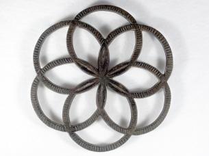 "JZH 1944 B: diameter 7"". Compass design w/central rosette. Scarce design."
